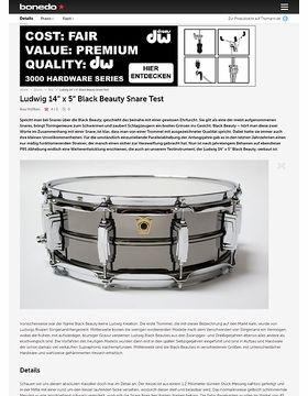 "Ludwig 14"" x 5"" Black Beauty Snare"