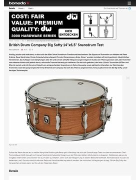 "British Drum Company Big Softy 14""x6,5"" Snaredrum"