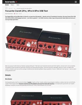 Focusrite Clarett 2Pre, 4Pre & 8Pre USB