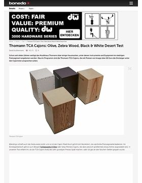 Thomann TCA Cajons: Olive, Zebra Wood, Black & White Desert