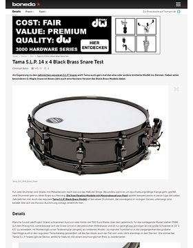Tama S.L.P. 14 x 4 Black Brass Snare