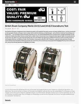 British Drum Company Merlin 14x5,5 und 14x6,5 Snaredrums