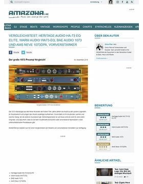 Vergleichstest: Heritage Audio HA-73 EQ ELITE, Warm Audio WA73-EQ, BAE Audio 1073 und AMS Neve 1073DPA
