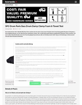 SPO Drum Parts Bass Drum Damp Clamp Foam und Towel