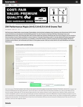 DW Performance Maple 14x5,5 14x6,5 & 14x8 Snares Test