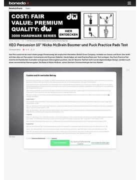 """KEO Percussion 10"""" Nicko McBrain Boomer und Puck Practice Pads"""