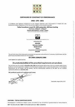 Certificate of consistency of performance