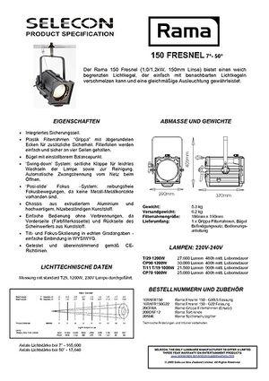 Selecon Rama 150Fresnel Datenblatt