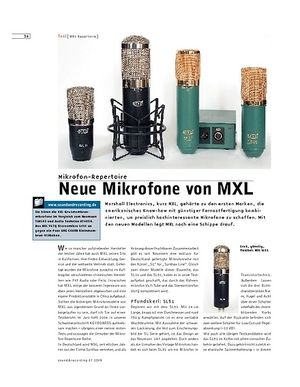Sound & Recording Neue Mikrofone von MXL