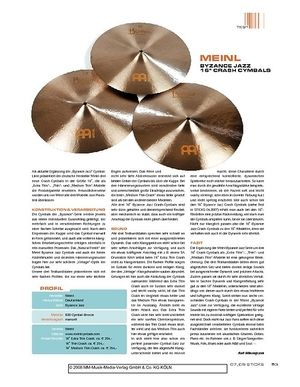 "Sticks ""Meinl Byzance Jazz 16"""" Crash Cymbals"""