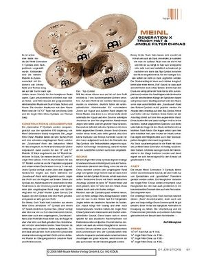 Sticks Meinl Generation X Trash Hat & Jingle Filter Chinas
