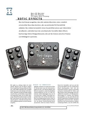 Gitarre & Bass Xotic Effects Bass RC Booster, Bass RC Preamp, Tri-Logic Bass Preamp, Bass-Effekte