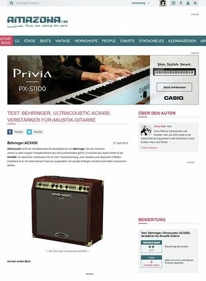 Amazona.de Test: Behringer, Ultracoustic ACX450, Verstärker für Akustik-Gitarre