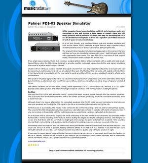 MusicRadar.com Palmer PDI-03 Speaker Simulator