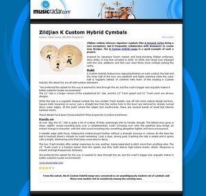 MusicRadar.com Zildjian K Custom Hybrid Cymbals