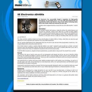 MusicRadar.com SE Electronics sE4400a
