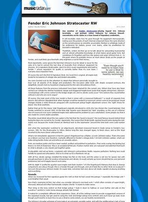 MusicRadar.com Fender Eric Johnson Stratocaster RW