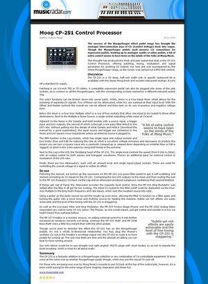 MusicRadar.com Moog CP-251 Control Processor