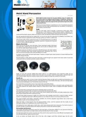 MusicRadar.com Meinl Hand Percussion