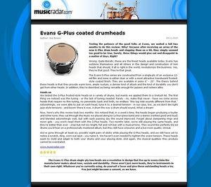 MusicRadar.com Evans G-Plus coated drumheads