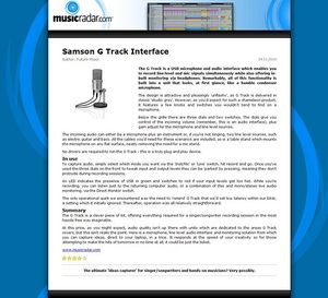 MusicRadar.com Samson G Track Interface