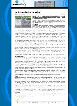 MusicRadar.com Mu Technologies Mu Voice