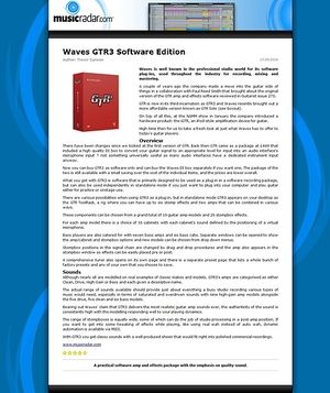 MusicRadar.com Waves GTR3 Software Edition