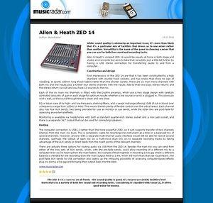 MusicRadar.com Allen & Heath ZED 14