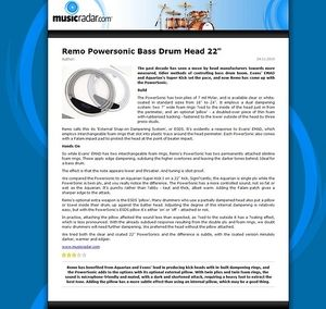 MusicRadar.com Remo Powersonic Bass Drum Head 22