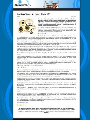 MusicRadar.com Sabian Vault Artisan Ride 20