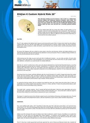 MusicRadar.com Zildjian K Custom Hybrid Ride 20