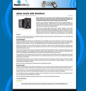 MusicRadar.com Adam Audio A3X Monitors