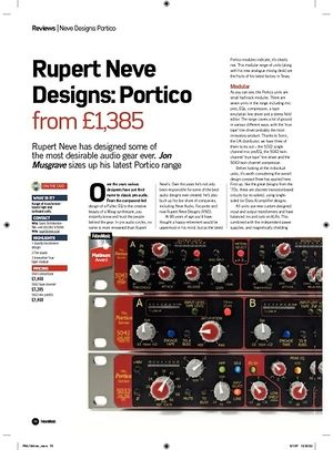 Future Music Rupert Neve Designs: Portico