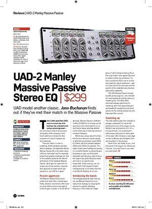 Future Music UAD2 Manley Massive Passive Stereo EQ