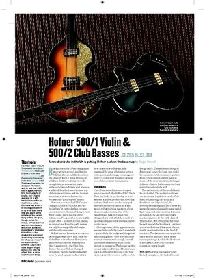 Guitarist Hofner 500/1 Violin Club Bass