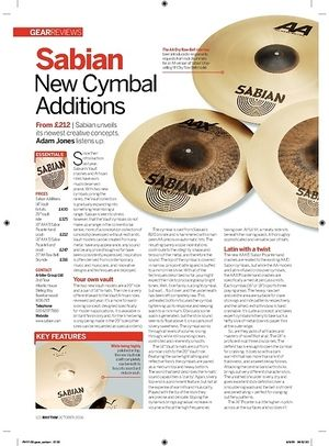 Rhythm Sabian New Cymbal Additions