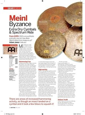 Rhythm Meinl Byzance Extra Dry Cymbals and Spectrum Ride