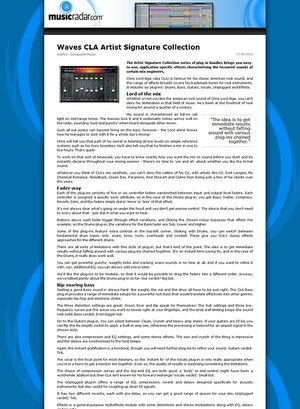 MusicRadar.com Waves CLA Artist Signature Collection