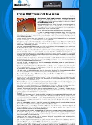 MusicRadar.com Orange TH30 Thunder 30 1x12 combo