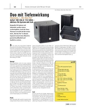 "Keyboards ""Thomann / """"The Box Pro"""" Achat 108 CXA & 112 SUBA - aktives PA-System mit Subwoofer"""
