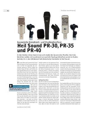 Sound & Recording Heil Sound PR-30, PR-35 und PR-40