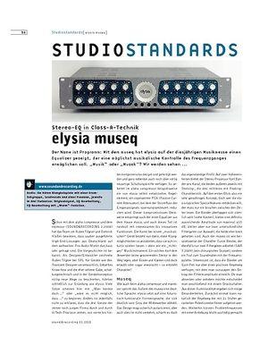 Sound & Recording Studiostandards - elysia museq