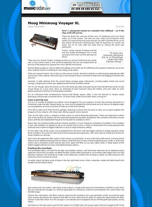 MusicRadar.com Moog Minimoog Voyager XL
