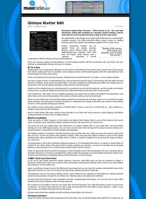 MusicRadar.com iZotope Stutter Edit