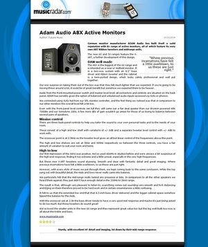 MusicRadar.com Adam Audio A8X Active Monitors