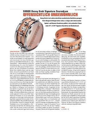 Sticks Sonor Benny Greb Signature Snaredrum