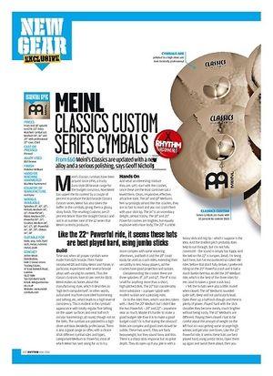 Rhythm Meinl Classics Custom Series Cymbals