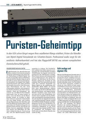 Professional Audio Puristen-Geheimtipp Mytek Digital 8X192 ADDA