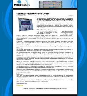MusicRadar.com Sonnox Fraunhofer Pro-Codec