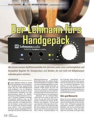 Professional Audio Der Lehmann fürs  Handgepäck: Lehmann audio StudioCube